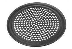 Perforated baking tray with pre seasoned tuff kote